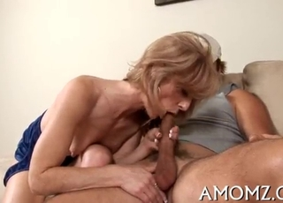 Sensual oral sex with a blonde mommy