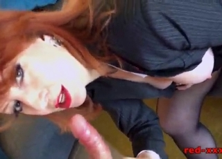 Redhead MILF is getting naked after work