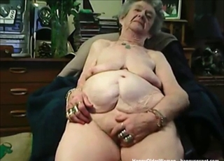 Very fat old lady plays with her crack