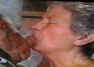 Very old lady nicely sucks a boner