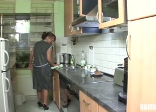 Seduced GILF roughly fucked in the kitchen