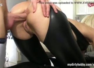Doggy style anal fuck with a rich blonde