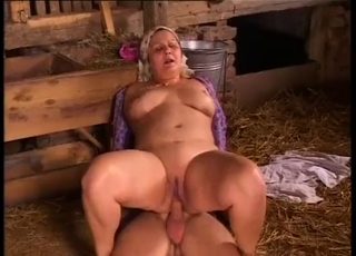 Sex in the hayloft with a horny BBW