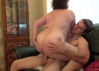 Kinky brunette is enjoying his massive boner