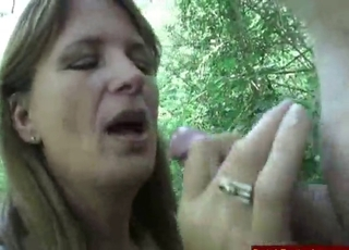 Busty lady fucked hard in the forest