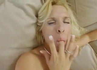Blonde with giant boobs sucks with love